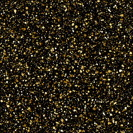 sputter: Gold splash or spangles seamless pattern. Shades of gold hand drawn spray texture. Golden blobs or uneven dots on black background endless template. Festive, birthday, party splatter background.