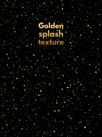 spangles: Golden splash, spangles or night sky with shining gold stars texture. Shades of gold hand drawn spray background. Golden blobs, sparks or uneven dots template. Gold splatter background.