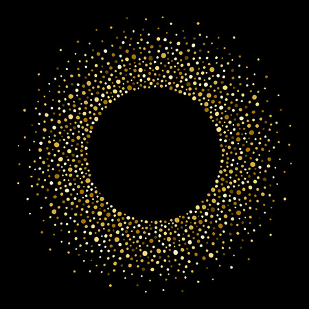 Golden splash or spangles round frame with empty center for text. Gold circle made of tiny uneven dots abstract background. Golden blobs textured round frame on black backdrop.