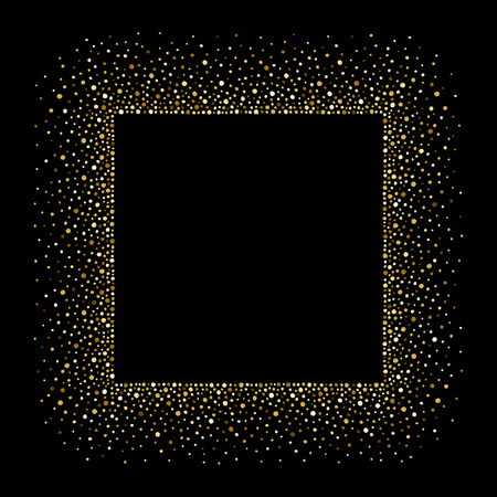 spangles: Golden splash or spangles square frame with empty center for text. Gold rectangle border made of tiny uneven round dots. Abstract background. Golden blobs textured frame on black backdrop.