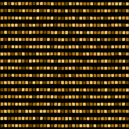 spangles: Golden mosaic stripes seamless pattern. Shades of gold strips made of hand drawn tiny square pieces or spangles. Abstract striped geometrical background. Mosaic texture.