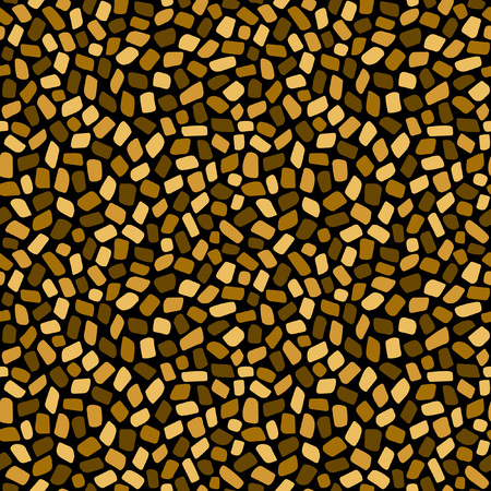 stabilization: Golden mosaic or inlay seamless pattern. Shades of gold. Abstract geometrical background. Tiny polygonal pieces. Ceramic tile stabilization texture. Byzantine mosaic template. Illustration