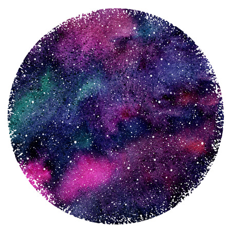 sputter: Watercolor night sky or galaxy with colorful stains and stars. Hand drawn beautiful cosmic background with blobs texture. Watercolour circle form with rough edges. Round shape.
