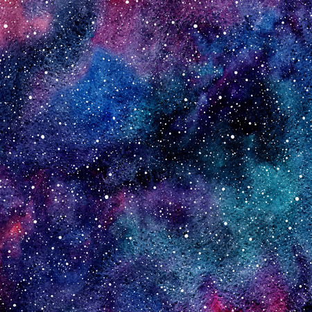 Hand drawn colorful watercolor galaxy or night sky with stars. Beautiful cosmic background. Splash texture. Black, emerald, violet and blue stains.