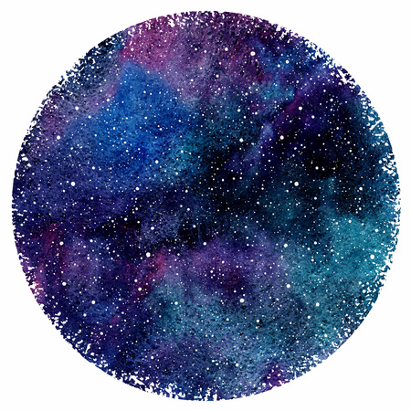 Watercolor night sky or galaxy with colorful stains and stars. Hand drawn beautiful cosmic background with blobs texture. Watercolour circle form with rough edges. Round shape.