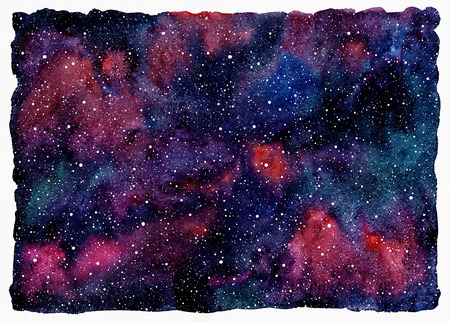 uneven edge: Colorful watercolor universe or night sky with stars. Beautiful cosmic rectangle background with rough, uneven edges. Black, emerald, pink, violet and blue watercolour stains.