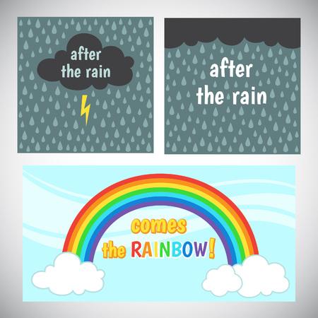 arco iris: Motivación, animar diseño de la tarjeta. , palabras inspiradoras alentadores. Después de la lluvia viene el arco iris. La nube de tormenta con relámpagos y la lluvia de fondo, cielo, arco iris y las nubes. Rayo ilustración estado de ánimo.