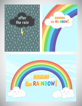 uplifting: Motivation, cheer up card design. Encouraging, inspiring words. After the rain comes the rainbow. Storm cloud with lightning and rain background, blue sky with rainbow and clouds.