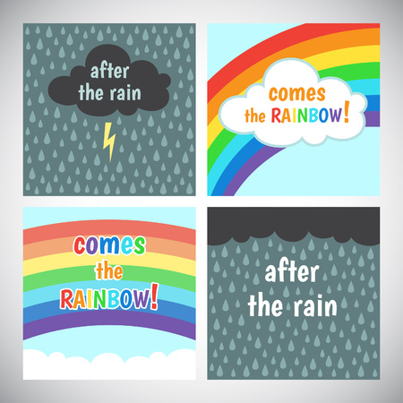 storm clouds: Motivation, cheer up card design. Encouraging, inspiring words. After the rain comes the rainbow. Storm cloud with lightning and rain background, blue sky with rainbow and clouds.