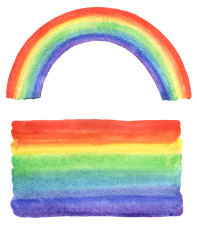 Watercolor rainbow and gradient fill with uneven edges. Hand drawn watercolour painted background. Bright rainbow stripes with stains. Rainbow brush stroke isolated in white backdrop. 版權商用圖片