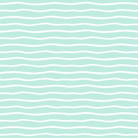 Wavy stripes seamless background. Thin hand drawn uneven waves vector pattern. Striped abstract template. Cute wavy streaks texture. Mint green and white bars.