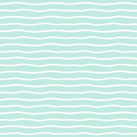 rayas onduladas fondo sin fisuras. delgada mano dibuja olas irregulares vector patrón. Rayas plantilla abstracta. Lindo rayas onduladas textura. Menta verde y barras blancas.