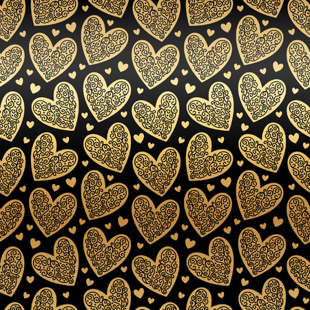 ornamentation: Gold hearts seamless vector pattern. Glittering golden and black Valentines Day background. Endless texture made of ornamental hearts of various size. Gold foil hearts with lacy ornamentation.