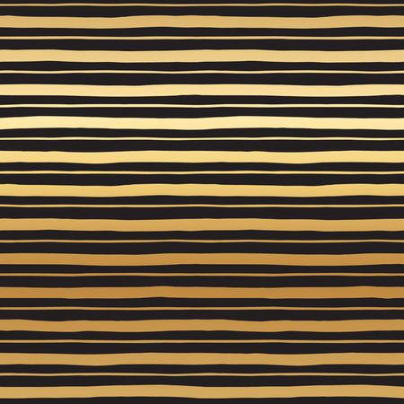 width: Golden stripes seamless vector pattern. Abstract striped background. Gold streaks of different width texture. Black bars on golden gradient background.