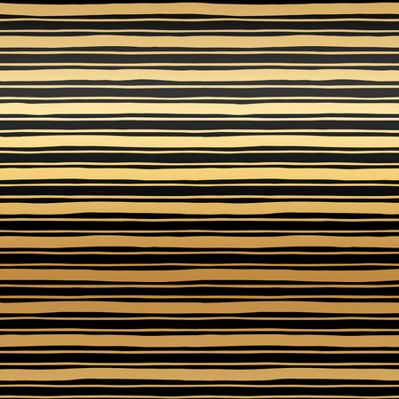 width: Golden stripes seamless vector pattern. Abstract striped background. Glittering gold streaks of different width texture. Black bars on golden gradient background. Illustration