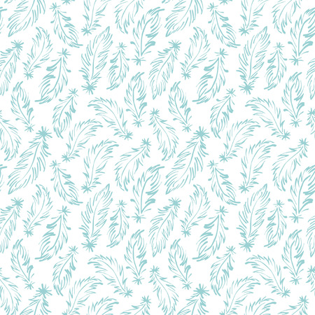 tiny: Feathers seamless vector pattern. Tiny hand drawn swan feathers endless texture. Boho style simple background.