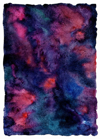 uneven: Dark colorful watercolor background. Black, blue, pink and emerald watercolour stains with rough paper texture. Rectangle with uneven edges. Stock Photo