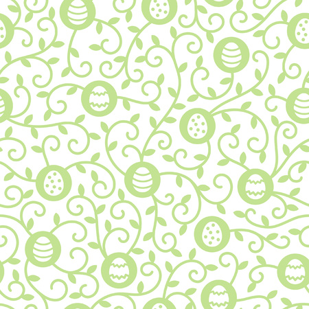 tendrils: Easter seamless pattern. Tiny simple eggs and tendrils with leaves texture. Flat design spring background. Green and white.