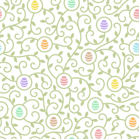 tiny: Easter seamless pattern. Flat design. Tiny simple colorful eggs and tendrils with leaves texture. Spring background.