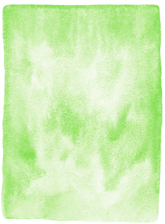 edges: Green watercolor background. Hand drawn watercolour texture with stains. Painted spring background. Rough, uneven edges. Stock Photo
