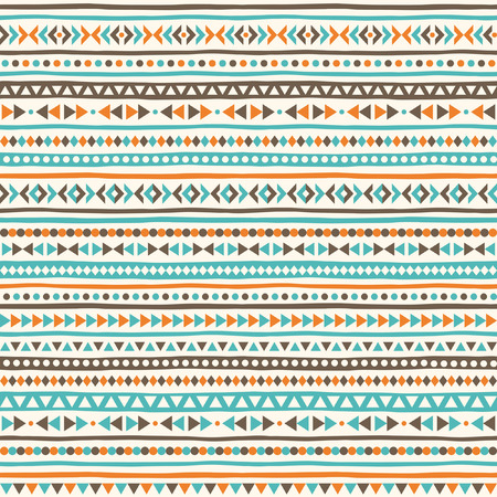 tiny: Boho geometrical seamless pattern. Ethnic or tribal background with tiny triangles, uneven stripes and dots. Striped boho texture.