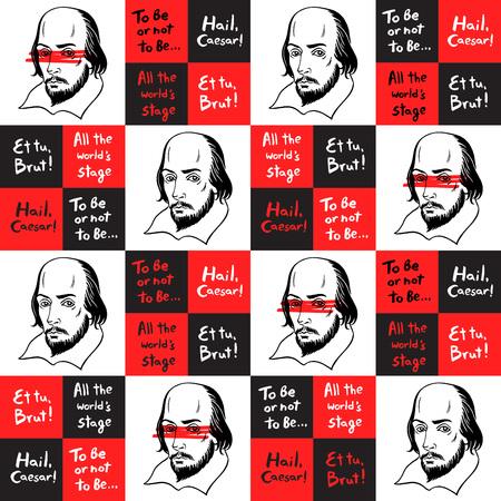 Modelo inconsútil del vector con el retrato de Shakespeare y citas famosas del escritor. , Formación literaria geométrica. ilustración Shakespeare con citas de las obras de autor. Textura del tablero de ajedrez.