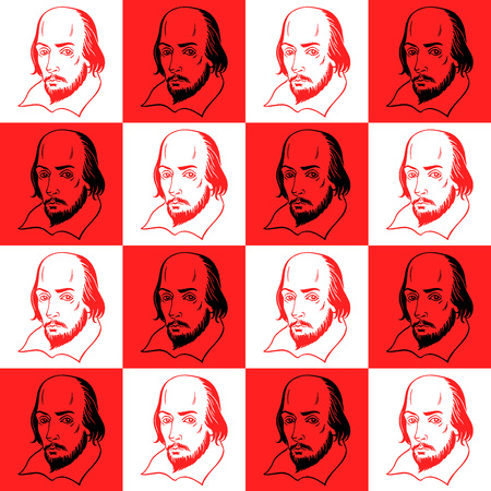 literary: Shakespeare portrait seamless vector pattern. Literary, theatre background. Shakespeare portrait illustration with geometrical chessboard abstract background.