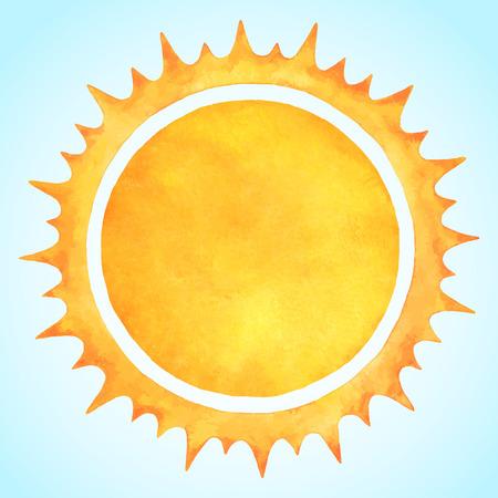 スパイクのクラウンと水彩ベクトル太陽。火円フレーム。太陽の形や炎境界線テキストのためのスペース。荒削りでオレンジと黄色の円のシルエッ