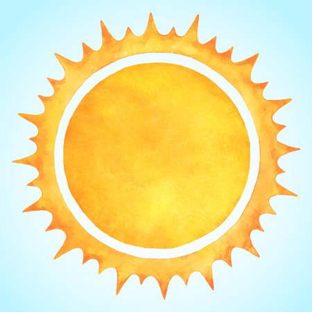 Watercolor vector sun with spiked crown. Fire circle frame. Sun shape or flame border with space for text. Orange and yellow circle silhouette with rough edges.