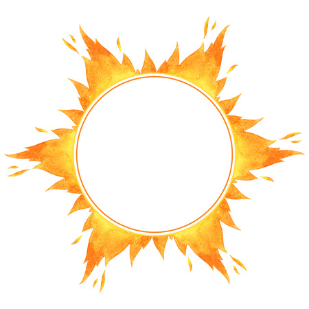 fire circle: Fire circle frame. Star shape watercolor vector flame border with space for text.