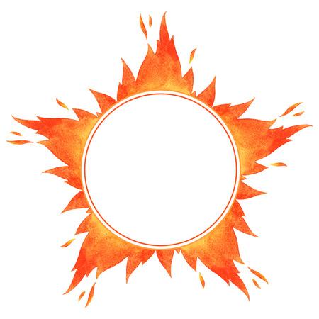 Feu cadre de cercle. Forme étoilée aquarelle vecteur flamme frontière avec espace pour le texte.