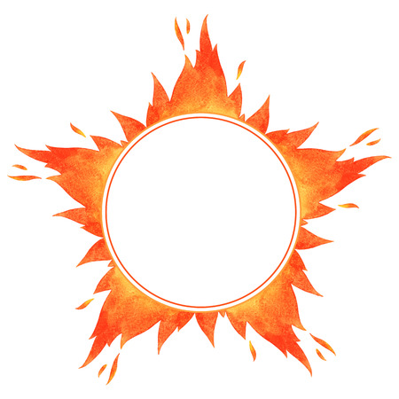 Fire circle frame. Star shape watercolor vector flame border with space for text.