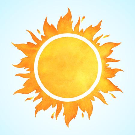 Akwarela wektor słońce z koroną i iskier. koło ramki pożaru. Kształt Sun lub płomień granicy z miejsca na tekst.