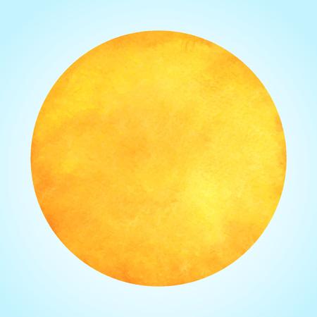 수채화 벡터 태양 또는 노란색 오렌지 원. 라운드 템플릿입니다. 원형 모양, 텍스트를위한 공간.
