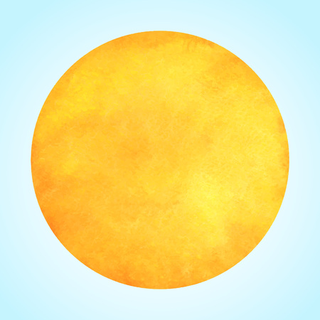 Watercolor vector sun or yellow orange circle. Round template. Circle shape, space for text. Ilustração