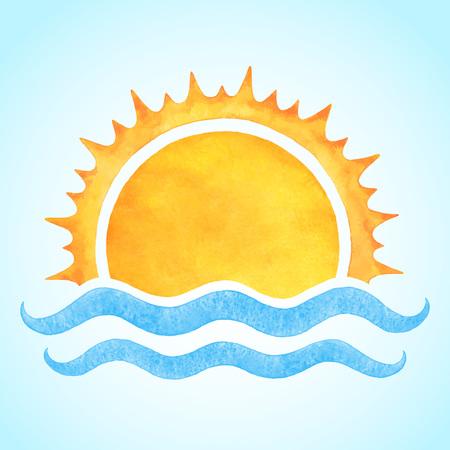 海の波とライジングサン水彩ベクトル。様式化された手描きのイラストやテキストの背景。