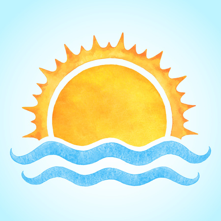 Watercolor vector rising sun with sea waves. Stylized hand drawn illustration or background for your text.