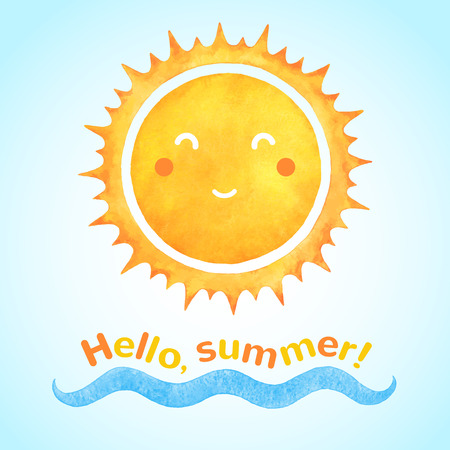 wave hello: Watercolor vector smiling sun with cartoon funny face and sea wave. Hello, summer! typographic composition. Holiday, vacation hand drawn illustration. Illustration