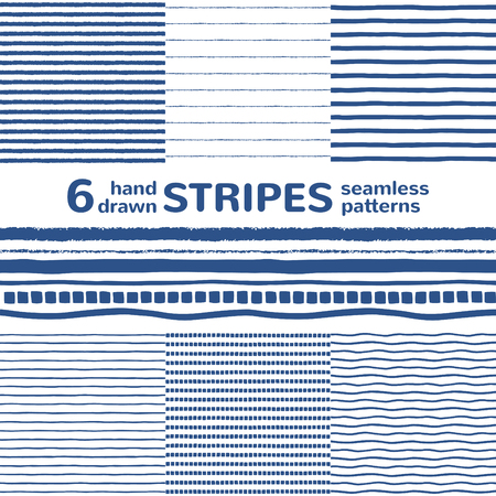navy blue background: Set of six hand drawn seamless vector patterns with various stripes. Navy blue and white striped background. Rough, uneven edges. Sailors vest textures. Different streaks backgrounds collection.