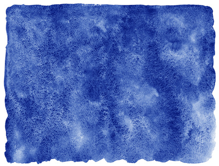 Navy blue watercolor abstract background. Watercolor fill with uneven edges and rough paper texture. Sea, marine watercolour background with stains. Hand drawn template. Stock Photo