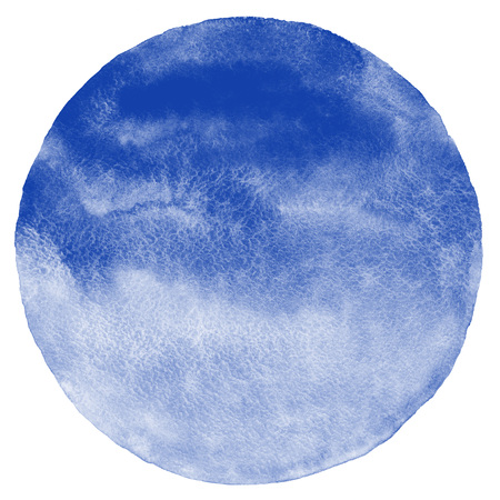 blue circle: Navy blue watercolor circle isolated on white. Sea, marine round background with space for text. Watercolour stains abstract texture. Stock Photo