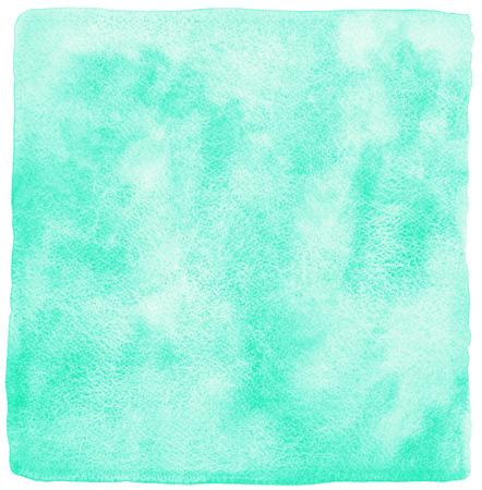 ミント グリーン水彩背景。正方形のテンプレートが描かれています。汚れと水彩テクスチャです。大まかな、不均一なエッジ。 写真素材