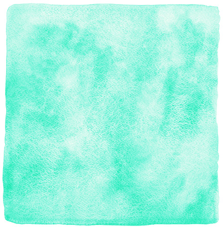 Mint green watercolor background. Painted square template. Watercolour texture with stains. Rough, uneven edges.