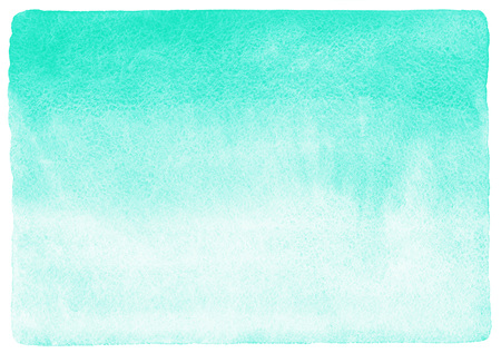 Mint green gradient watercolor background. Watercolour texture with stains. Painted horizontal background. Rough edges.