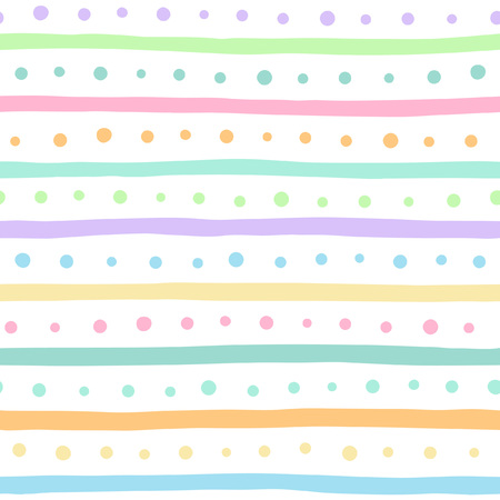 Uneven stripes and dots seamless pattern. Free hand drawn colorful bars and round spots on white background. Abstract colorful streaks and dots texture.