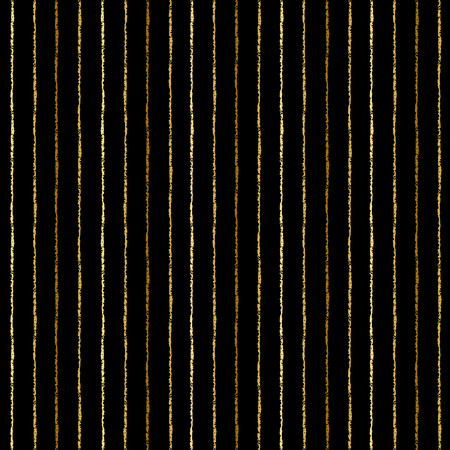 Golden brush stripes seamless pattern. Thin gold uneven bars on black backdrop. Striped background. Golden pinstripes abstract texture.