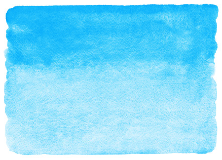 Sky blue watercolor abstract background. Horizontal watercolour gradient fill. Hand drawn texture. Piece of heaven.