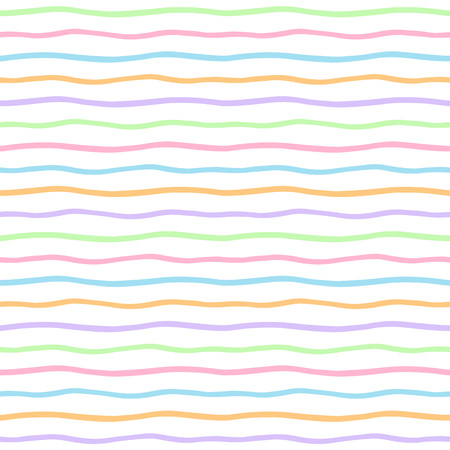 squiggly: Wavy multicolored stripes seamless vector pattern. Uneven free hand drawn colorful waves texture. Thin squiggly multicoloured streaks. Wavy colourful pinstripes background.