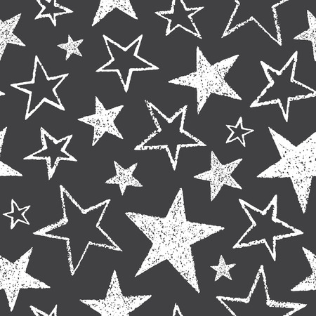 Brush or chalk drawn five-pointed stars of different size seamless vector pattern. Rough texture, uneven edges. Free hand drawn cosmic, space background. Doodle style white star shapes on chalkboard.