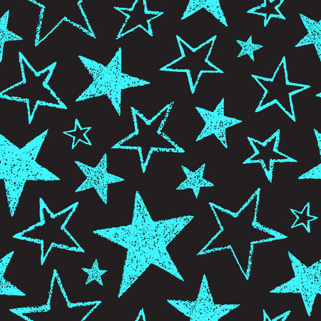 estrellas cinco puntas: Brush drawn five-pointed stars of different size seamless vector pattern. Rough texture, uneven edges. Free hand drawn cosmic, space background. Doodle style star shapes. Neon mint green and black.